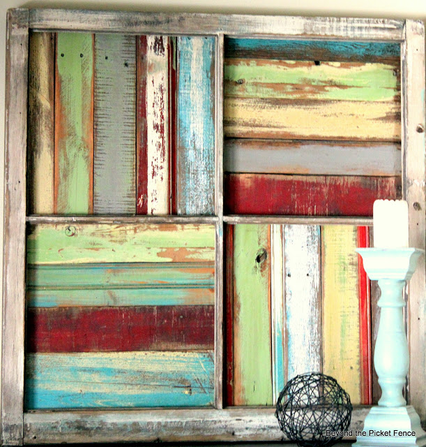 Beyond the picket fence salvaged window into wood scrap wall art