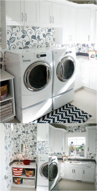 Bright and beautiful laundry room with beautiful wallpaper featured on Remodelaholic.com
