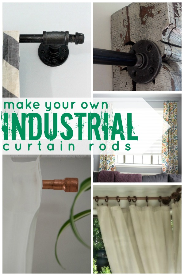 DIY Industrial Curtain Rod Tutorials On Remodelaholic.com #AllThingsWindows  #curtains #hardware #