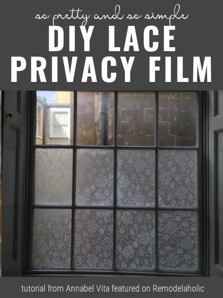 DIY ablakfilm csipkével, oktatóanyag Annabel Vita-tól Remodelaholic