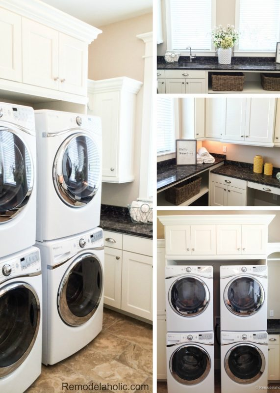 Double laundry with crafting space and storage featured on Remodelaholic.com