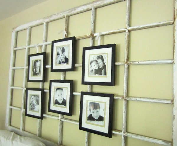 Large DIY Wall Decor Idea: Down to Earth Style - old window photo display - via Remodelaholic