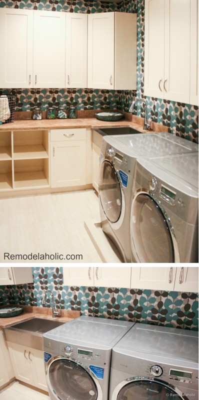 Fun laundry room with wallpaper to add some color and texture to the room Remodelaholic.com