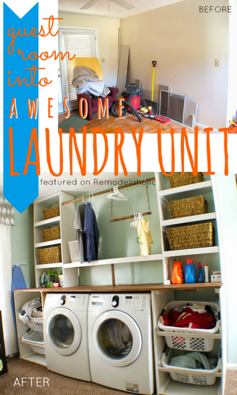 Guest Room into Built-in Laundry Unit | Seesaws and Sawhorses on Remodelaholic.com #laundryroom #DIY #organization