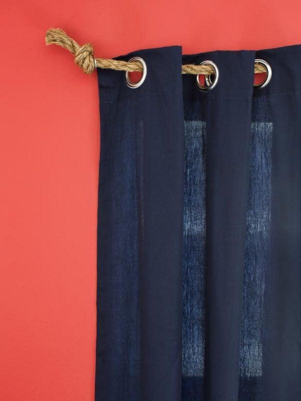 HGTV rope curtain rod via Remodelaholic