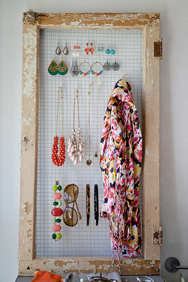 Hello Brit via Home Depot - old window and hardware cloth as an accessory organizer - via Remodelaholic