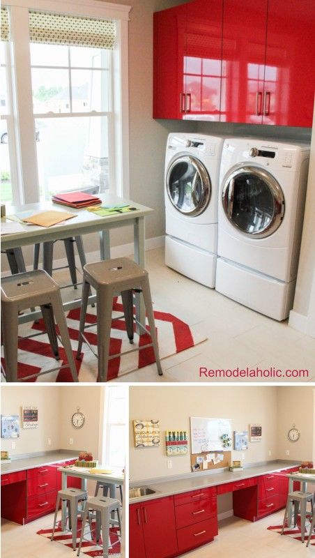 Kids homework, craft and laundry room featured on Remodelaholic.com