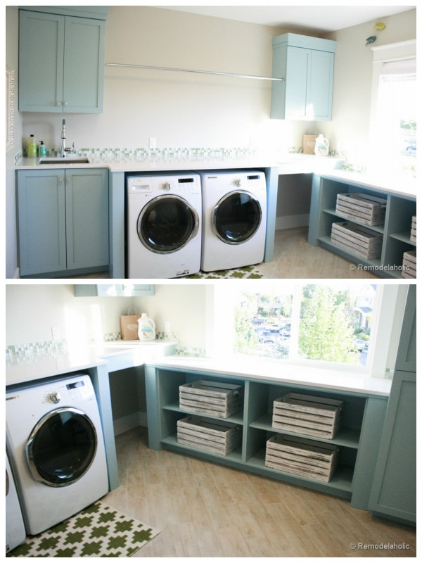 Large Open Laundry Room with blue cabinets featured on Remodelaholic.com