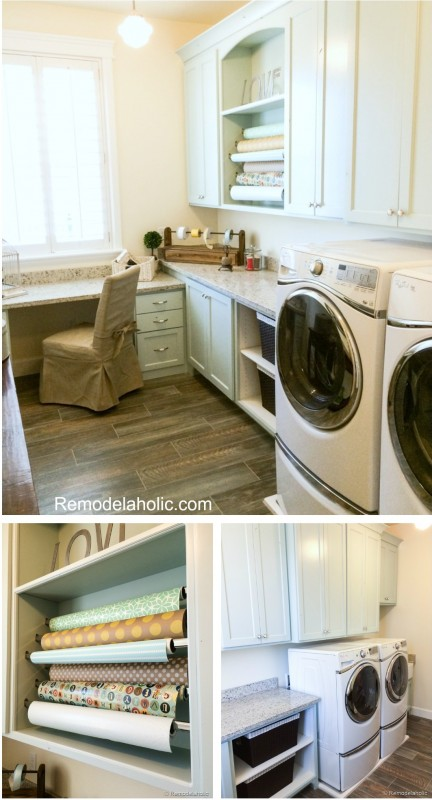 Laundry Room with gift wrapping center Fabulous Laundry room design ideas from @Remodelaholic