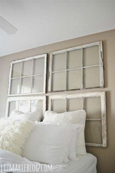 Liz Marie Blog - old windows as headboard - via Remodelaholic