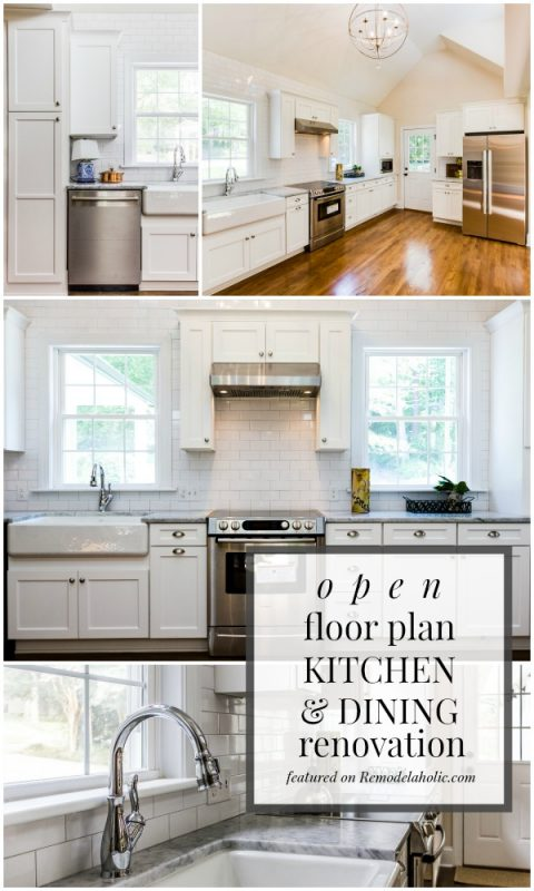 Open Floor Plan White Kitchen and Dining Room Renovation featured on Remodelaholic