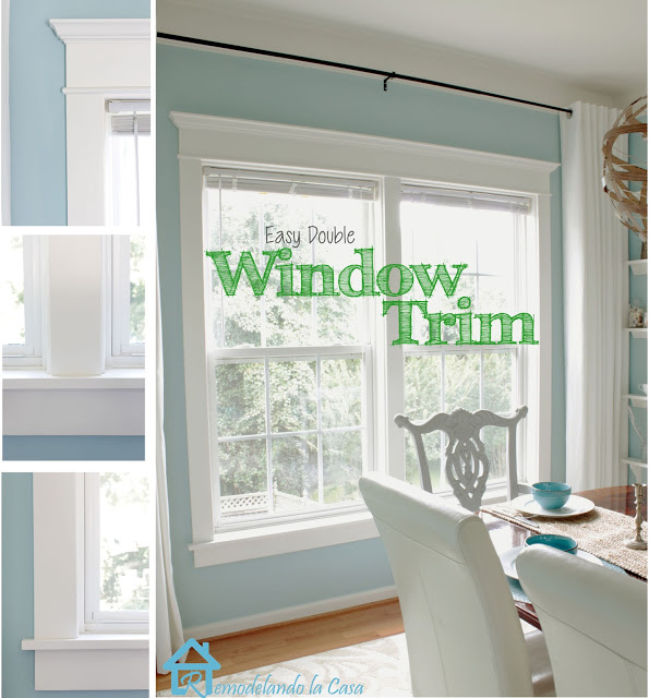Remodelando La Casa how to trim double windows via Remodelaholic