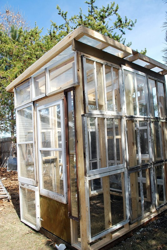 Sparta Savings - greenhouse from old windows - via Remodelaholic