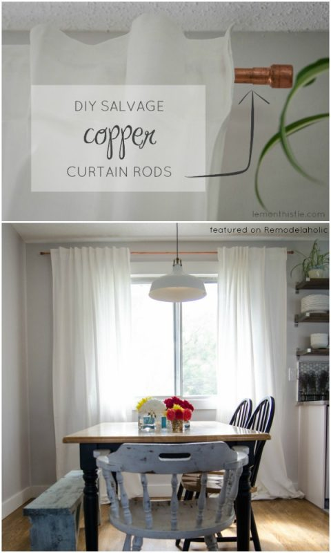 Salvaged Copper Pipe Curtain Rods | Lemon Thistle on Remodelaholic.com #AllThingsWindows #DIY #upcycle