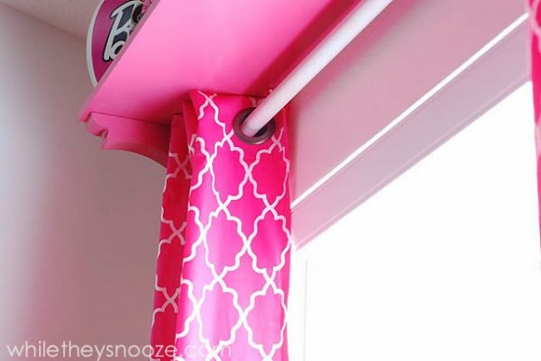 While They Snooze diy curtain shelf via Remodelaholic