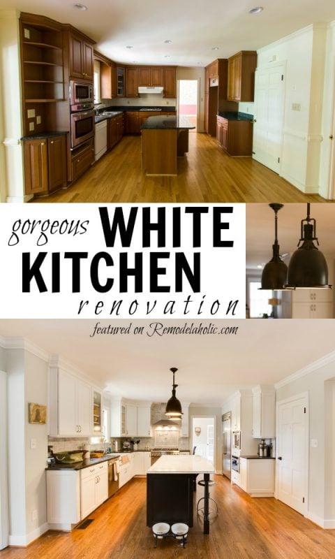 Gorgeous white kitchen inspiration via Remodelaholic.com #beforeandafter #makeover #DIY