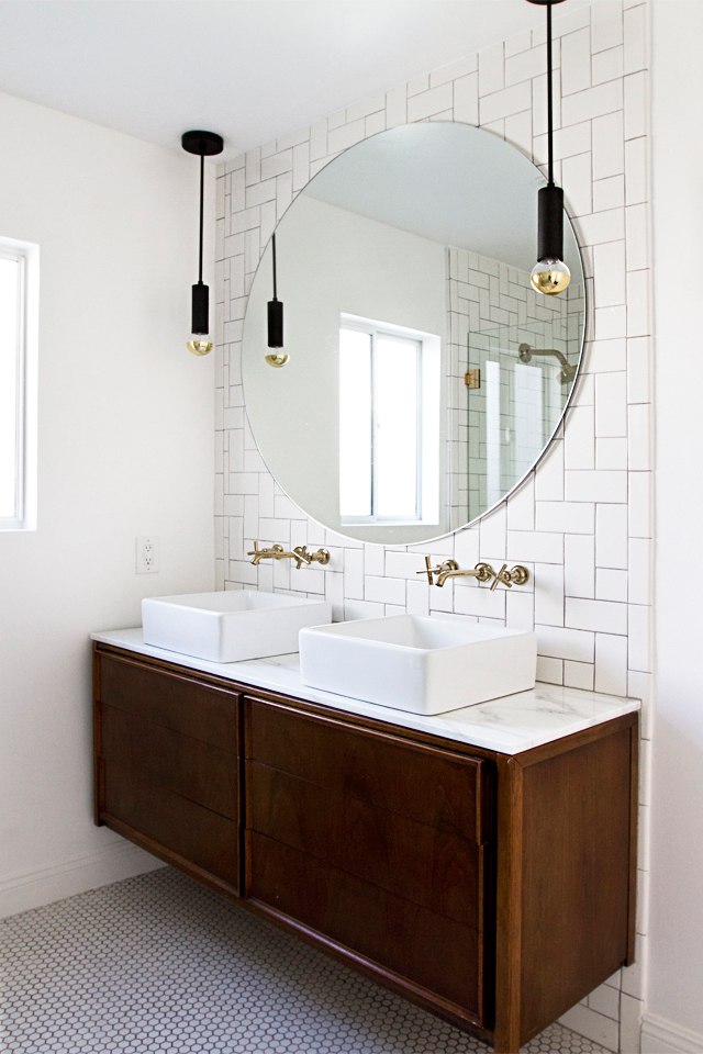 Unique Decorating with White Remodelaholic white bath with vintage wood credenza vanity