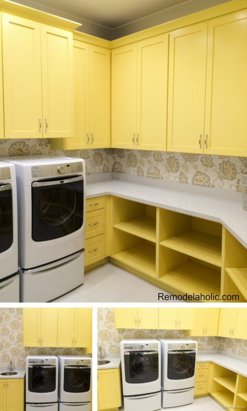 Yellow laundry room cabinets with lots of storage and cabinets featured on Remodelaholic.com