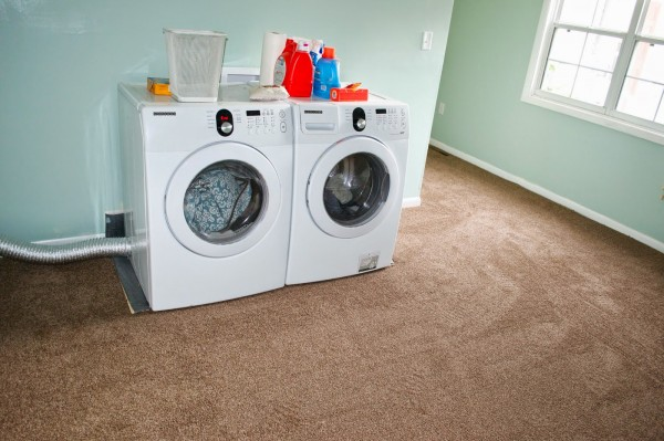 carpet in the laundry room, Seesaws and Sawhorses on Remodelaholic