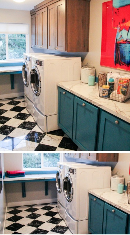 colorful laundry with builtin laundry bins and folding table plus fun floor featured on Remodelaholic.com