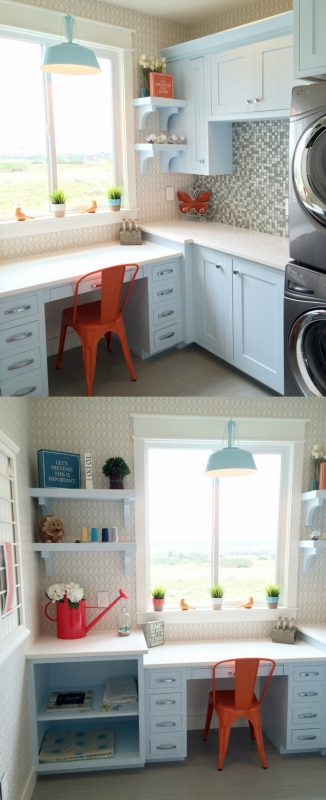 compact craft and laundry room to make use of space featured on Remodelaholic.com