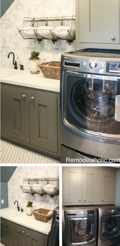 cute cottage attic laundry room design featured on Remodelaholic.com