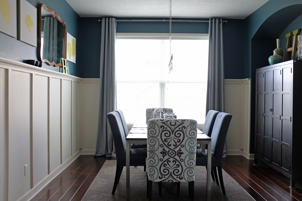 Remodelaholic universal tricks for good looking curtain for Dining room ideas teal