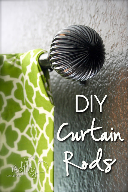 diy curtain rod Red Fly Creations via Remodelaholic