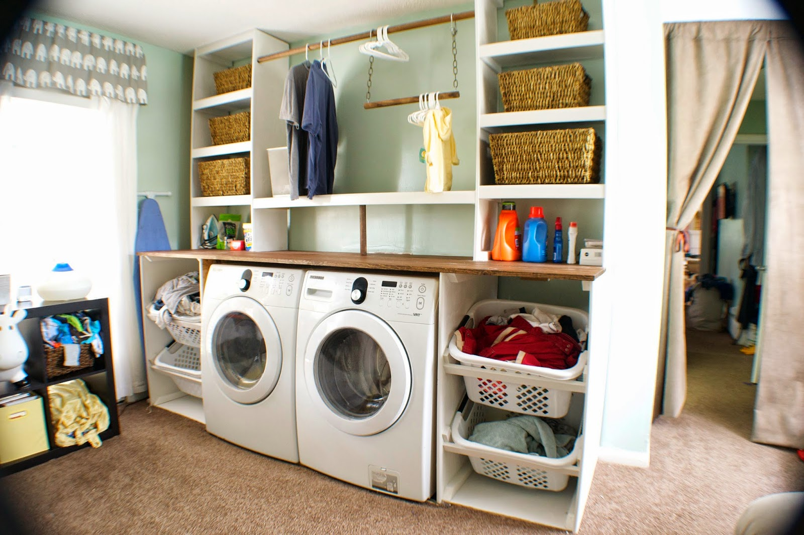 Remodelaholic Builtin Laundry Unit with Shelving