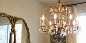 feature crystal orb chandelier diy, Vintage Romance Style featured on Remodelaholic
