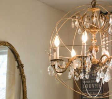 DIY Crystal Orb Chandelier Knockoff