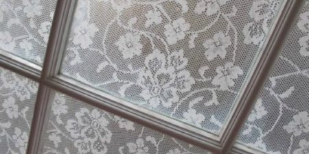 DIY Window Film made of Lace Curtain by Annabel Vita on Remodelaholic