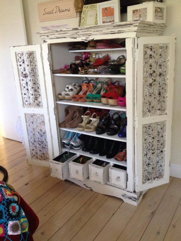 TV Unit to Shoe Armoire | Reader projects featured on Remodelaholic.com #diy #remodelaholic