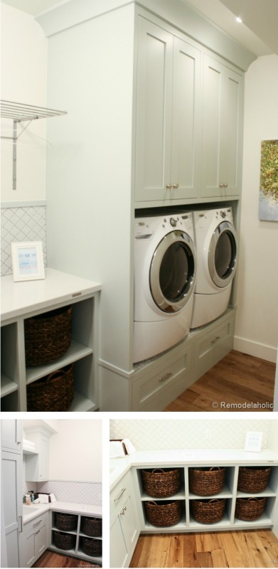 great laundry with built-in baskets and storage and more featured on Remodelaholic.com