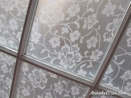 inexpensive DIY privacy window covering with lace, Annabel Vita on Remodelaholic