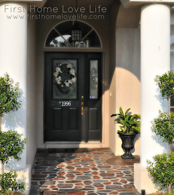 painted concrete porch curb appeal on Remodelaholic