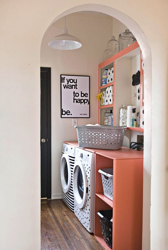 personalized laundry room using electrical tape