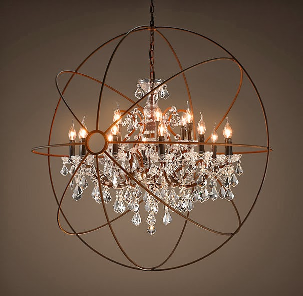 Popular restoration hardware chandelier Vintage Romance Style featured on Remodelaholic