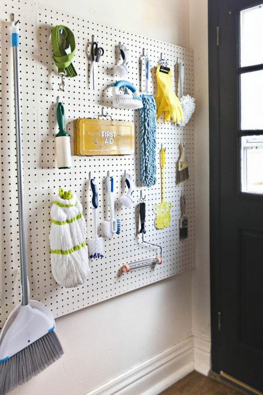 small space great storage laundry room using a pegboard
