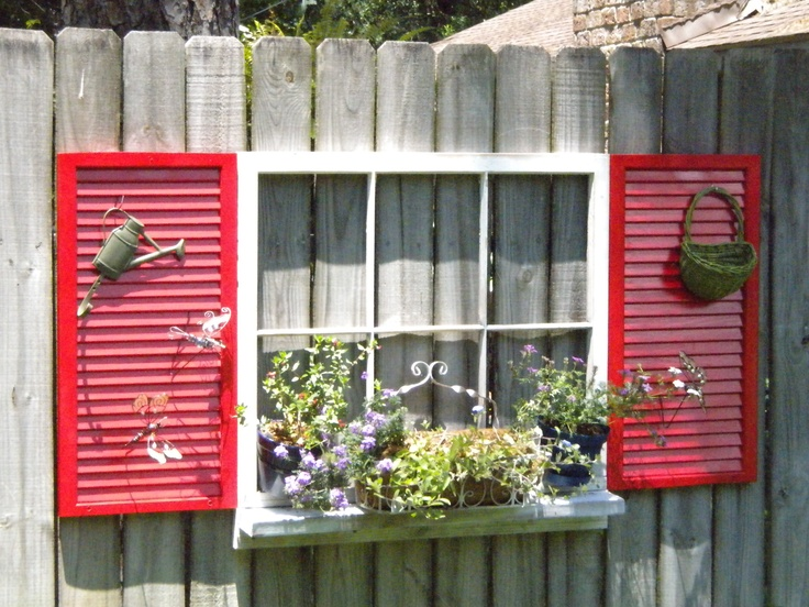Source Unknown   Old Window With Sill And Shutters On Fence   Via  Remodelaholic