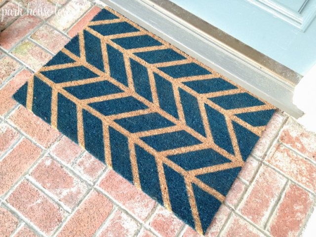 curb appeal ideas, spray painted door mat