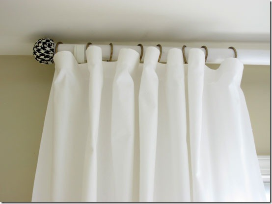 tennis ball curtain rod finial In My Own Style via Remodelaholic
