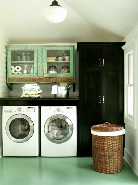 upcycled old cabinets for laundry room idea featured on Remodelaholic.com
