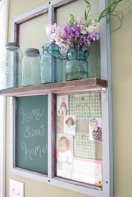 upcycled old window to shelf and chalkboard - via Remodelaholic