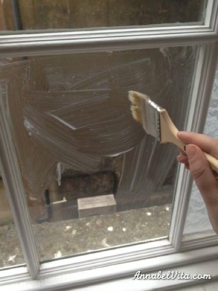 use cornstarch or cornflour paste to glue lace to windows for privacy, Annabel Vita on Remodelaholic