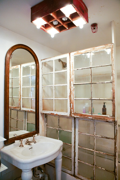 ... Design Sponge - old windows used as shower curtain - via Remodelaholic