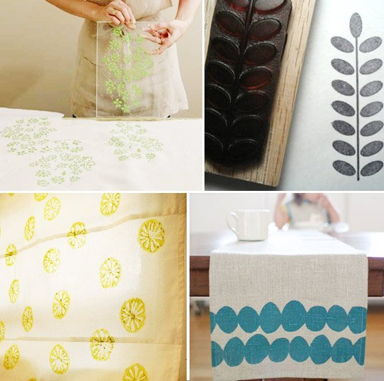 Apartment Therapy - how to stamp your own textiles for sheets or curtains - via Remodelaholic