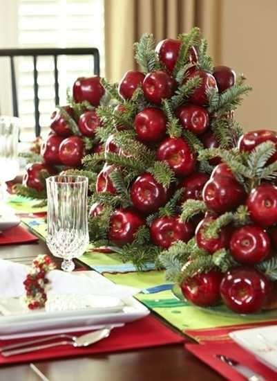 Apple and fir centerpiece