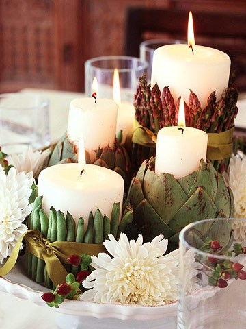 Asparagus artichoke and bean candles