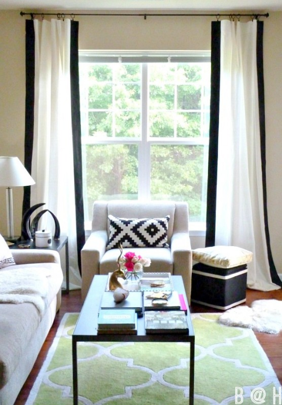 Bliss At Home - diy painted black border curtains with vertical stripe - via Remodelaholic